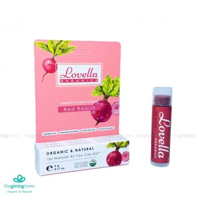 ลิปสี Lovella Organics Tinted Lip Balm - Red Radish โทนสีแดง