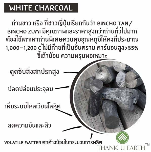 White charcoal ผลิตภัณฑ์จากถ่านขาว Thank U Earth